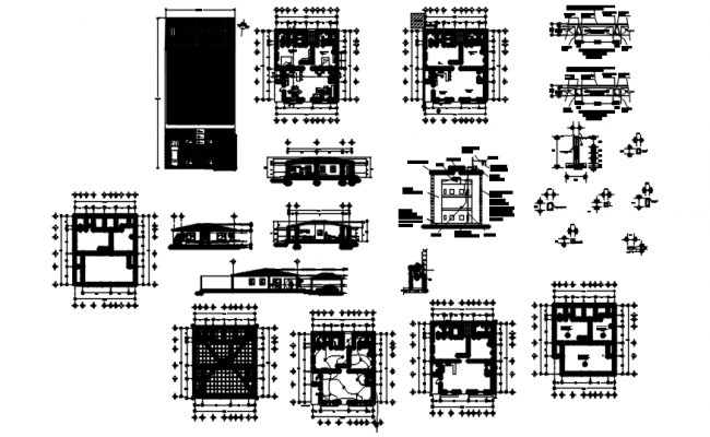Single storey house with elevation and section in AutoCAD