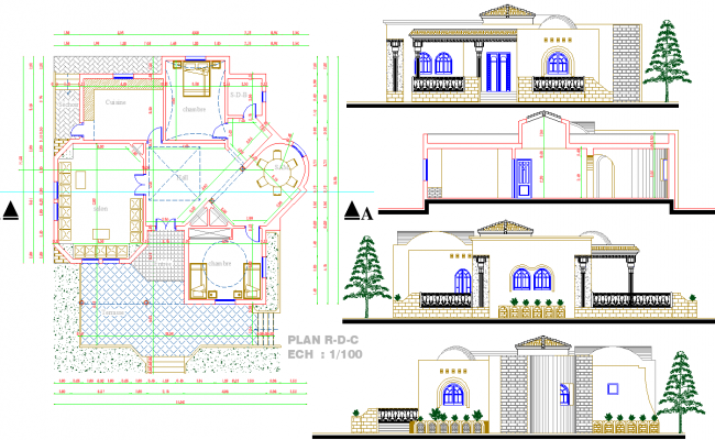 Single story house plan autocad file for House plan cad file