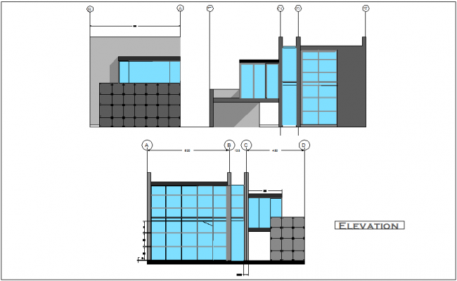 Single story apartment building elevation and different axis section view dwg file