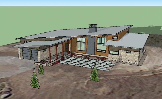 Single story beautiful house 3d model cad drawing details skp file