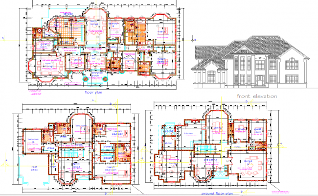 Single story house and villas architecture design and detail