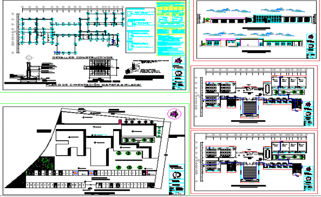 Single story office building architecture project dwg file