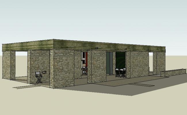 Single story restaurant 3d building model cad drawing details skp file