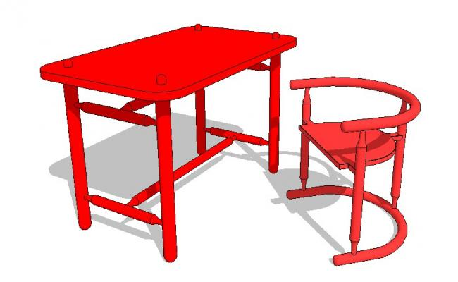 Single table and wooden chair 3d block cad drawing details dwg file