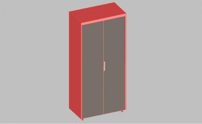 Single wardrobe 3d elevation block cad drawing details dwg file