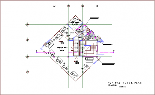 Single water line view with architectural second to fifth floor plan for mixed use building dwg file