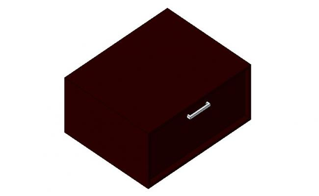 Single wooden drawer 3d block cad drawing details dwg file