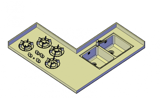 Sink and hob unit top view 3d