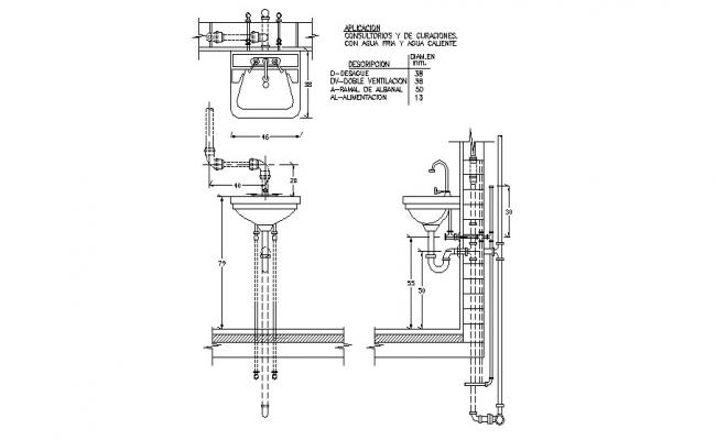 Sink section and plan cad drawing details dwg file