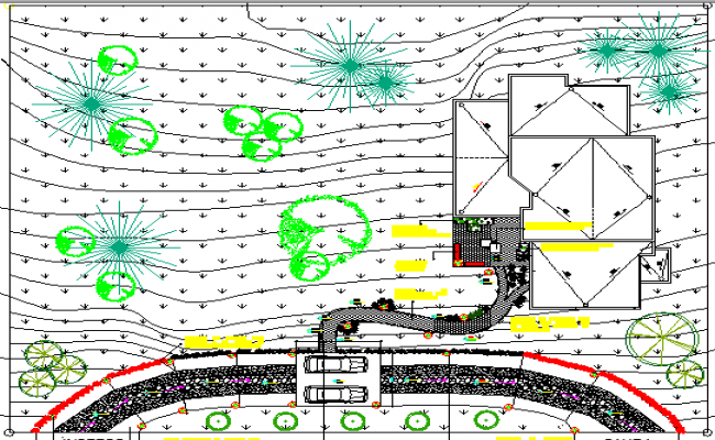Site Plan and Landscaping of Stage House Project dwg file