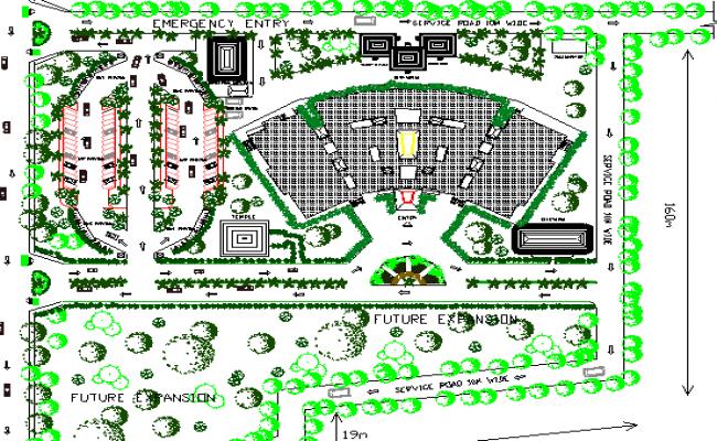 Site Plan of Genera Hospital Complex dwg file