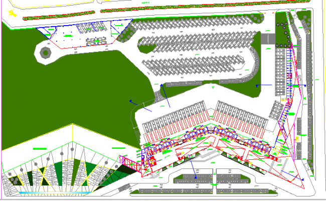 Site Plan of Urban Bus Station Architecture Layout dwg file