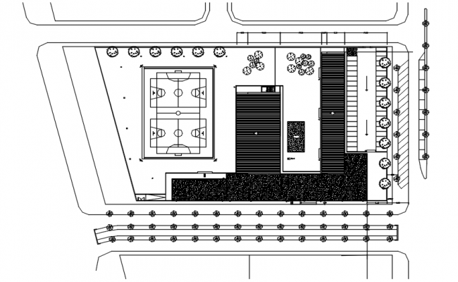 Site Plan of the school building with detail dimension in dwg file