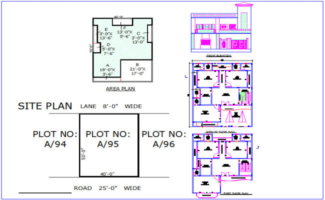 Site and area plan view with plan and elevation for house dwg file