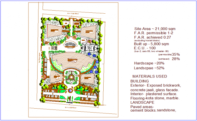 Site area design view of collage with with description dwg file