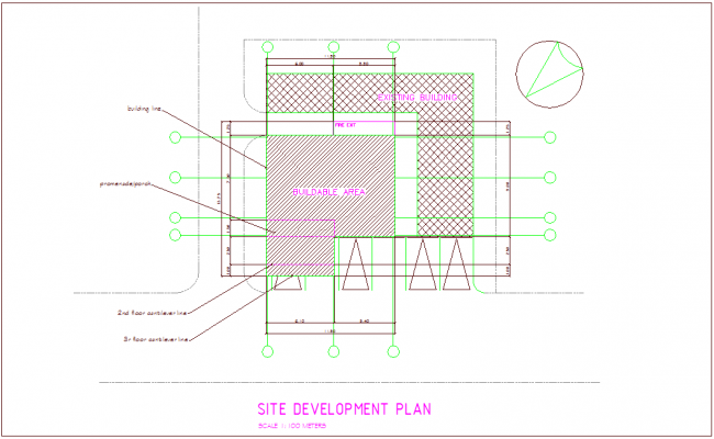Site development plan with architectural view for office building dwg file