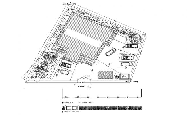 Site layout plan of residential building with detail dimension in dwg file
