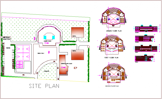Site plan,floor plan,elevation and section view of management study institute dwg file