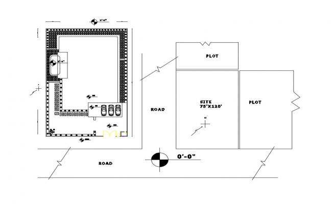 Site plan and distribution plan details of small house dwg file