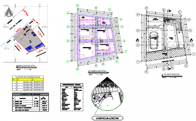 Site plan and foundation plan detail dwg file