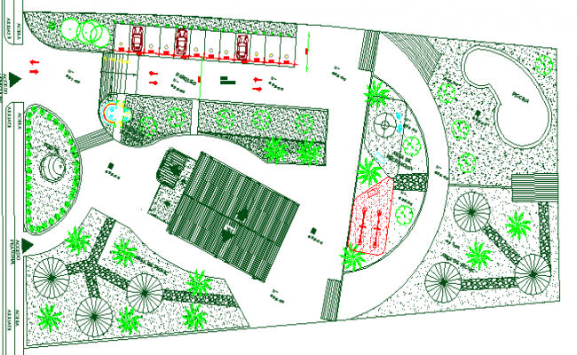 Site plan and landscaping of Multi-flooring residential building dwg file