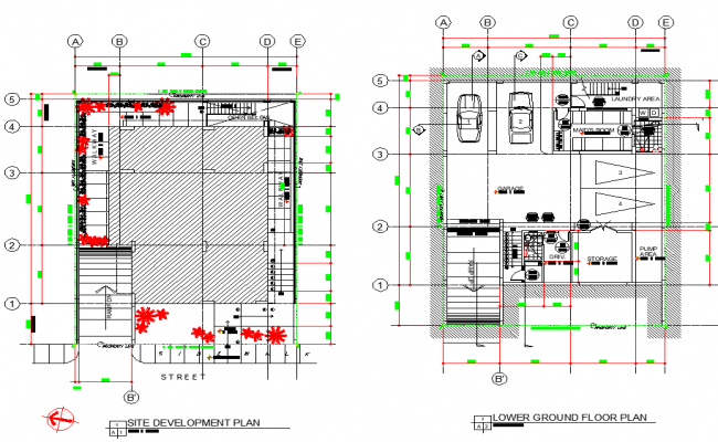 Site plan and lower ground floor plan autocad file