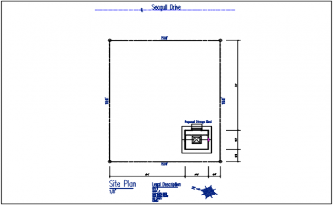 Site plan detail in plot area in dimension detail with naming detail in plan,north direction detail in plan.