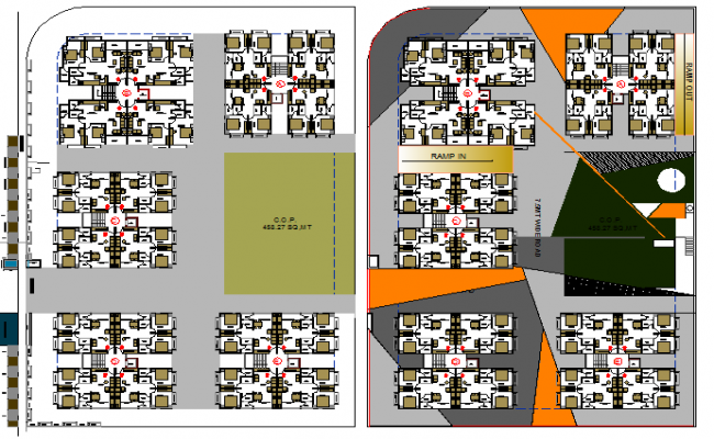 Site plan details of multi-family residential building with structural layout dwg file
