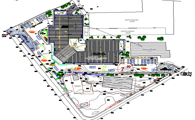 Site plan details of multi-specialty hospital details dwg file