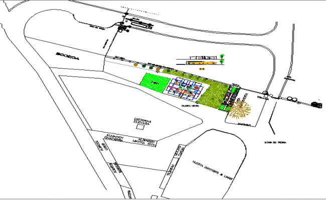 Site plan details, landscaping of administration office building dwg file