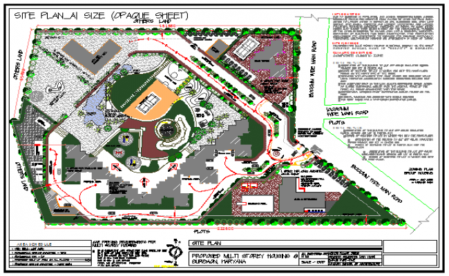 Site plan of Multi storey Housing building design