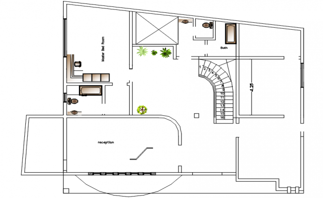 Site plan of a residential house in autocad