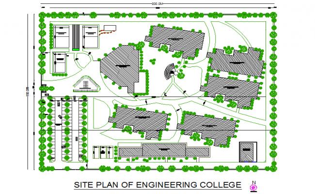Site plan of engineering college detail dwg file