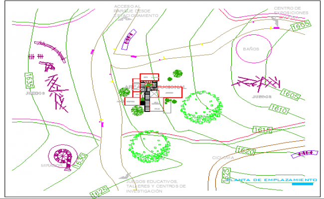 Site plan of higher education center dwg file