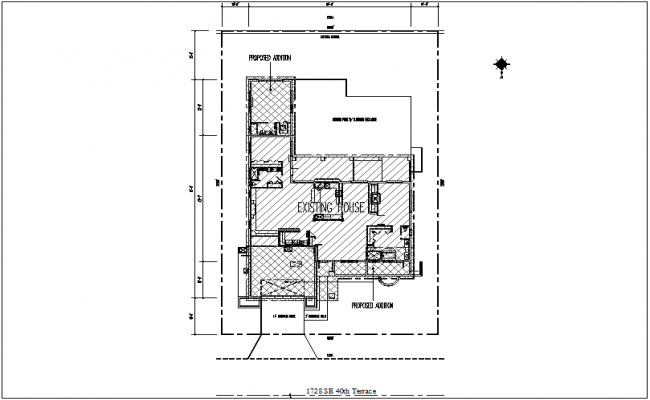 Site plan of house with necessary detail dwg file