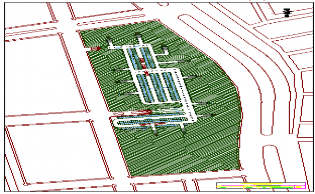 Site plan of multi-family housing building dwg file