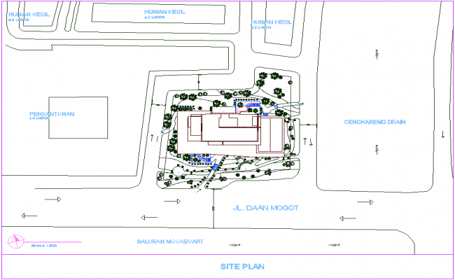Site plan of office area with architectural view dwg file