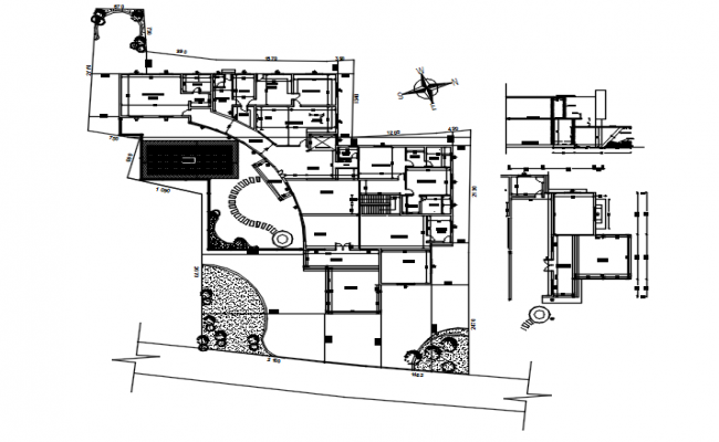 Site plan of residential building with detail dimension in AutoCAD