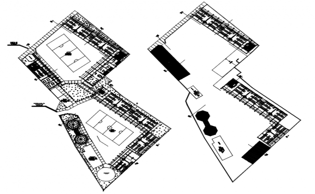 Site plan of school with detail dimension in dwg file