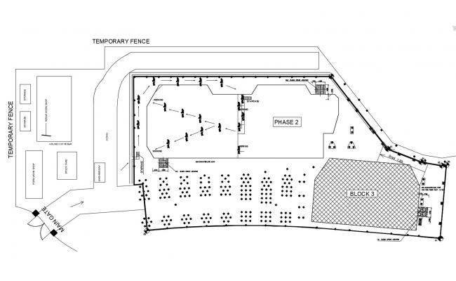 Site plan of shopping house with detail dimension in dwg file