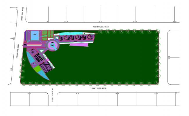 Site plan of the clubhouse with detail dimension in dwg file