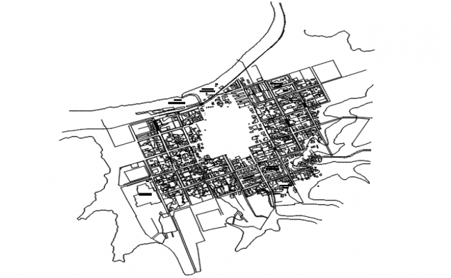 Site plan of the office building in dwg file