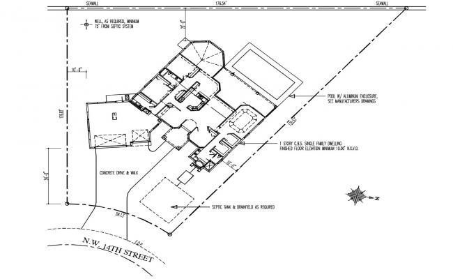 Site plan of the residential house with detail dimension in AutoCAD