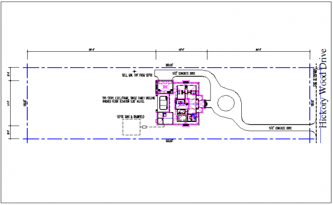 Site plan view of house structure detail dwg file