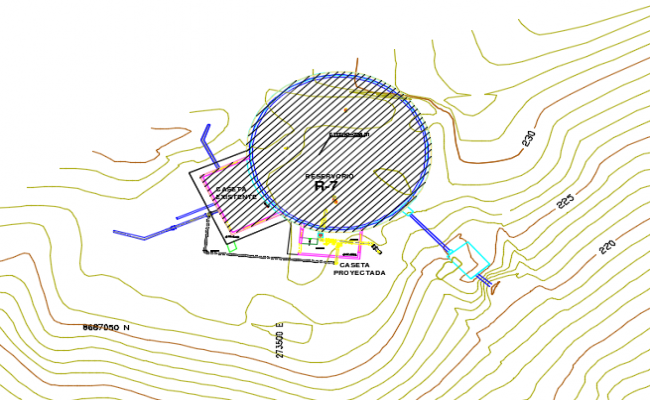 Site plan water reservoir detail dwg file