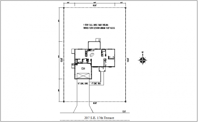 Site plan with area distribution view dwg file