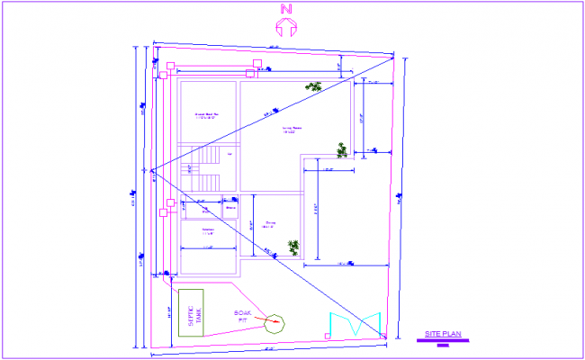 Site plan with detail view of house architectural view dwg file
