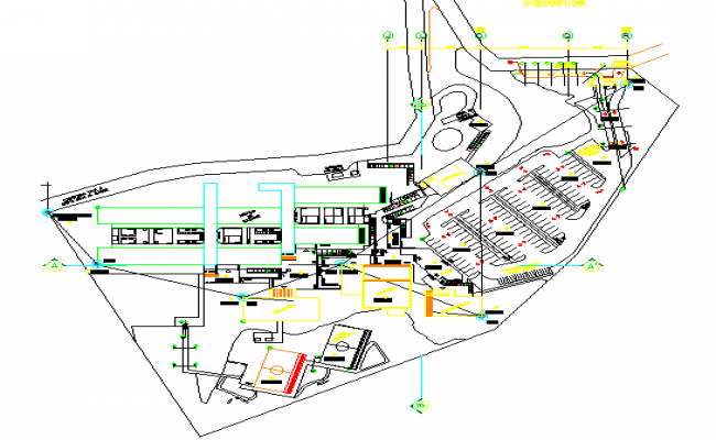 Site plan with landscaping of bank in university dwg file