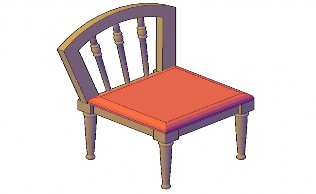 Sitting Chair detail elevation 3d modle structure layout file