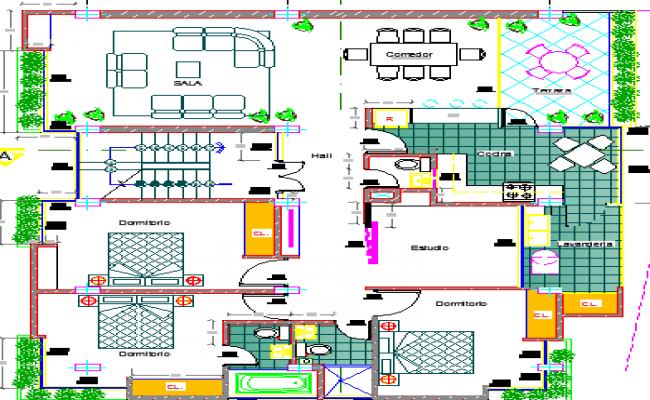 Six Floors Multi-Family Residential Building Structure Details dwg file